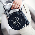New Arrival Clock Womens Shoulder bags Leather Circular Crossbody Bags Fashion Lovely Lady Handbags Rivet Tassel Cute Bag Girls