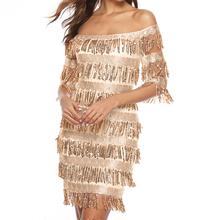 Sexy Off Shoulder Dress 2019 Summer Tassel Bodycon Dresses Backless Women Club Party Vestidos