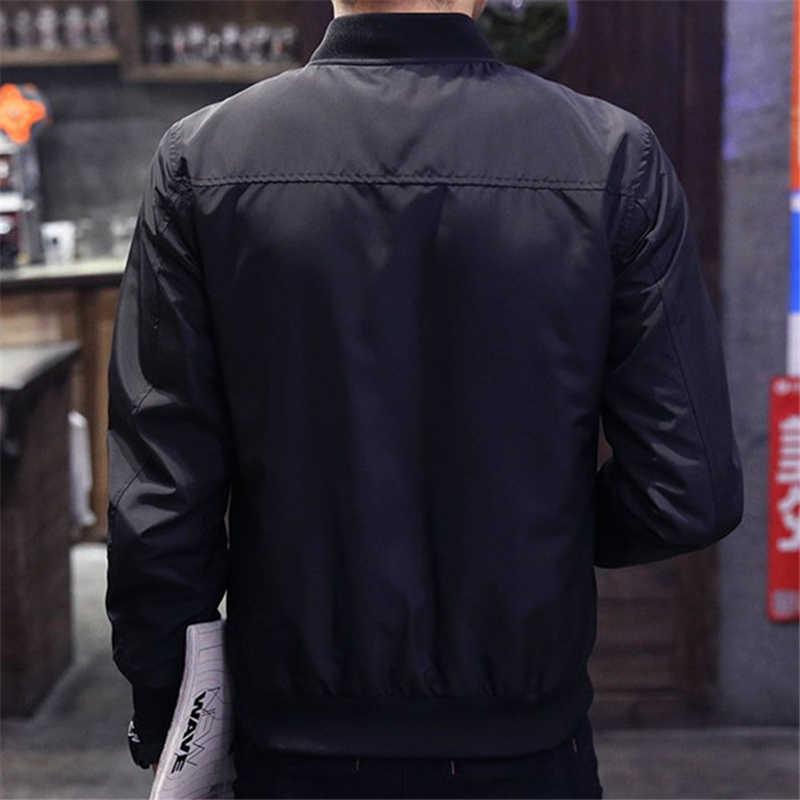 2019 野球ジャケット男性春秋のカジュアル固体ファッションスリムミリアンペア 1 ジッパーボンバージャケット男性オーバーコートメンズ薄型パイロットジャケット