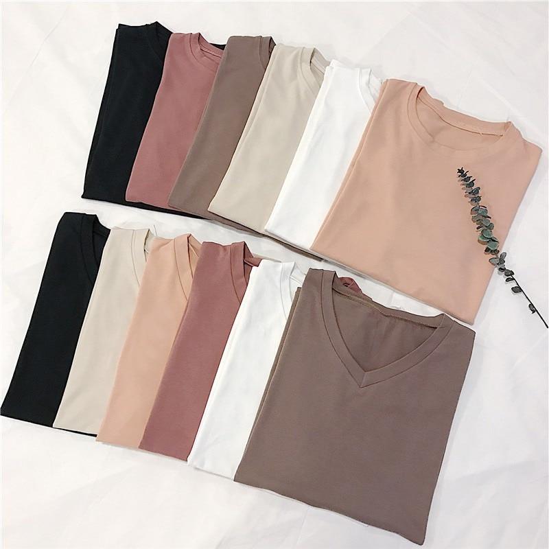 Women Plain Simple T Shirt Short Sleeve Female Tops Women's O Collar/V Neck Basic T shirt T-Shirts  - AliExpress