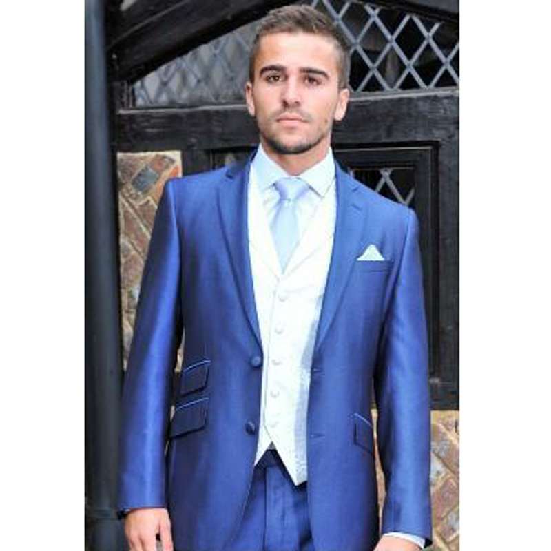 jacket+pants+tie W:30 We Take Customers As Our Gods The Cheapest Price High Quality Blue Mens Suits Groom Tuxedos Groomsmen Wedding Party Dinner Best Man Suits