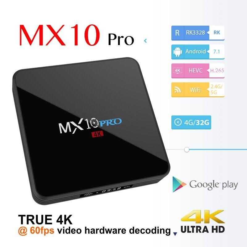 MX10 PRO 4GB 32GB TV Box Android 7.1 RK3328 4K Miracast Airplay 2.4G/5G Dual WiFi HD Media Player Digital Display PK MX9 PRO X92