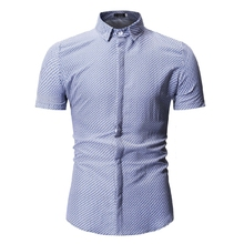 MarKyi 2019 brand dot print mens summer short sleeve shirts plus size casual patterned printed
