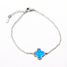 Women Fashion Lucky 925 Sterling Silver Bracelet Blue Fire Crystal Opal Charm Pendant Bracelet Wedding Jewelry Gift 20CM C(China)