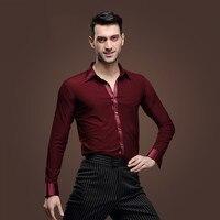 sexy Tango Latin Bordeaux Man Latin Dance Shirt Male Long Sleeves Samba Lumba Adult Modern Clothes Wine Top