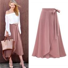 094f84ea3c 5XL 6XL tamaño grande mujeres Split falda vendaje ocasional flojo de la  alta cintura plisada Faldas Mujer playa rosa negro un fa.