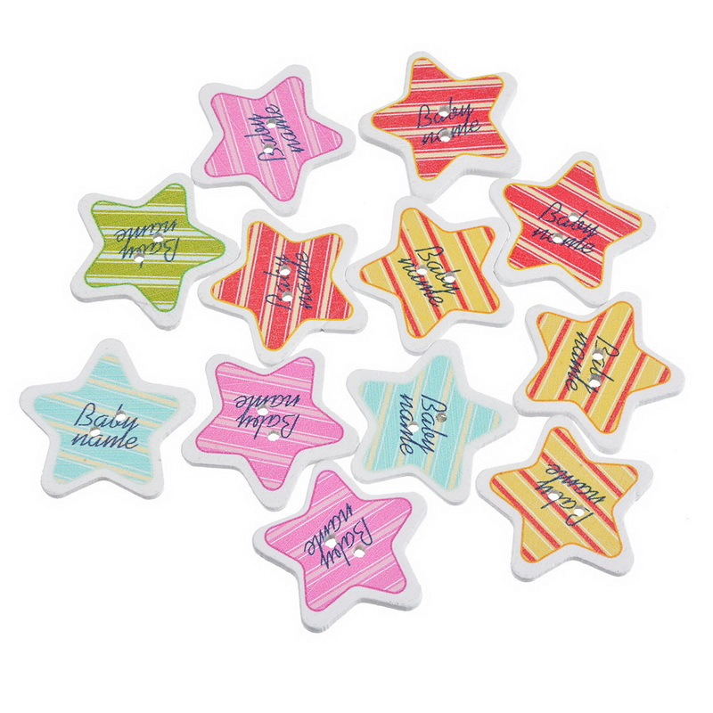 Buy 50pcs baby name letters wooden button for Baby name letters decoration
