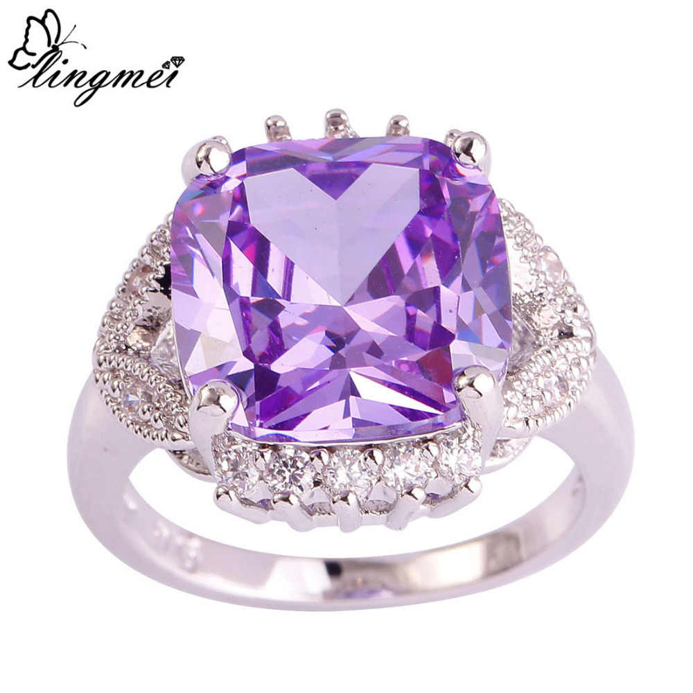 Lingmei Engagement Wedding Rings for Women Princess Fashion Tourmaline Pink White Zircon Silver Ring Size 6-10 Anniversary Gift