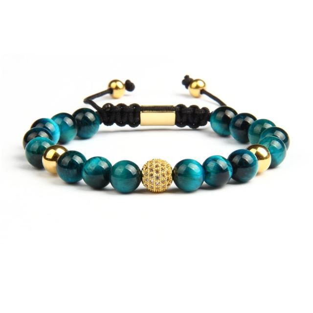 Beaded Bracelet with Natural Blue & Rose Tiger Eye