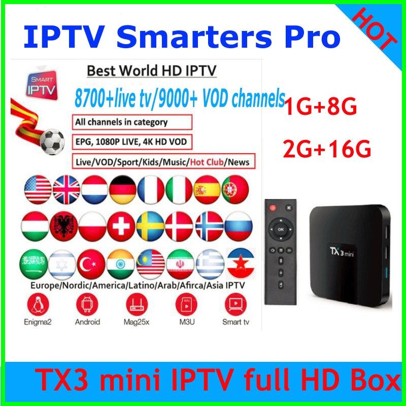TX3 IPTV Subscription 8700 IPTV full HD Europe Arabic Germany UK French Italian Spain Sweden Indian