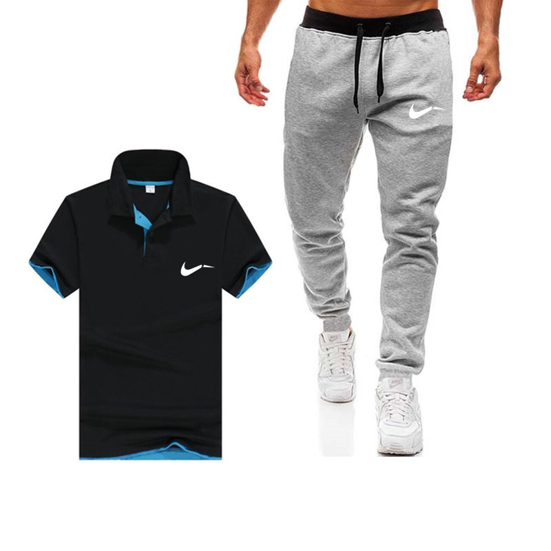 2019 summer hot classic brand men's suit polo shirt + pants two sets of casual sportswear men's polo shirt gym workout clothes(China)