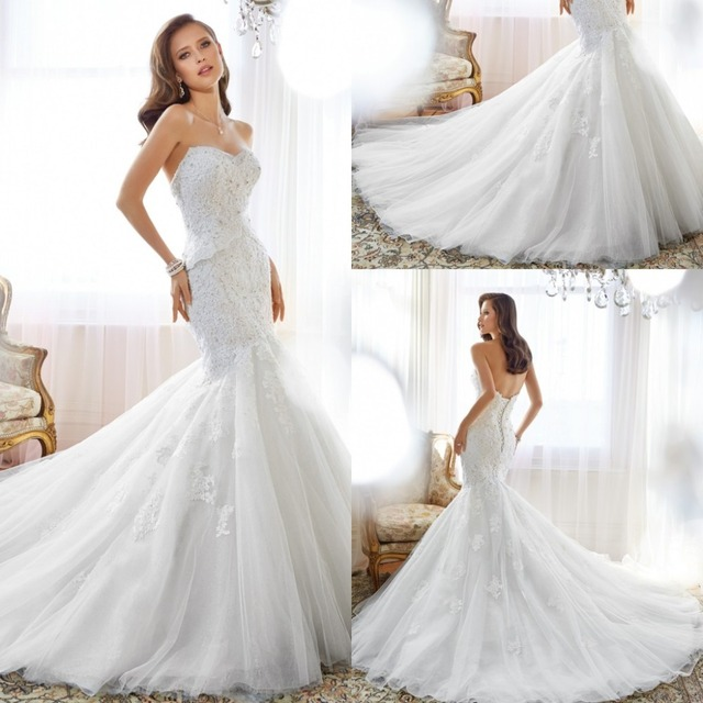 2017 Spring Modern Mermaid Wedding Dresses Sweetheart Beads Lace ...
