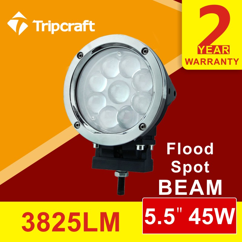 ФОТО 2PCS 5Inch 45W Round LED Work Light  Offroad Boat Car Truck 4x4 SUV ATV Fog Spot Flood Combo 12V 24V Fog light 3570LM