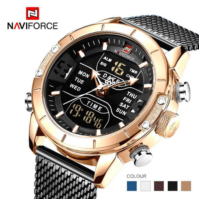Naviforce 2019 กีฬา LED ดิจิตอลทหารหรูหราสายคล้องคอนาฬิกาข้อมือนาฬิกา Relogio Masculino montre Homme