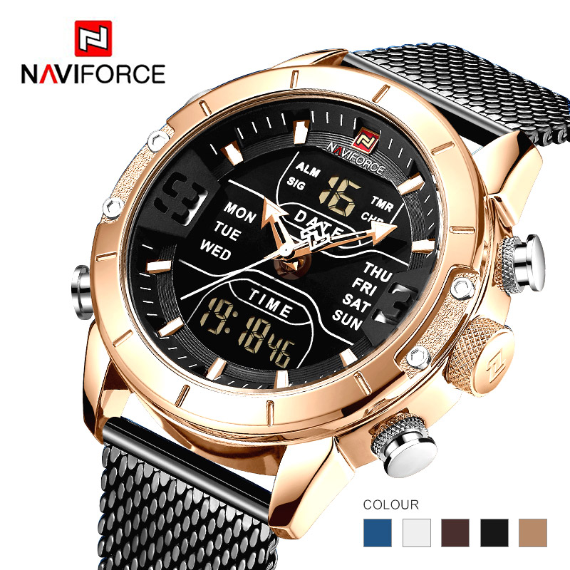 Naviforce 2019 Sport Digital Military Men Watch 9153 Top Brand Luxury Steel Strap Wrist Watch Relogio Masculino montre hommeNaviforce 2019 Sport Digital Military Men Watch 9153 Top Brand Luxury Steel Strap Wrist Watch Relogio Masculino montre homme