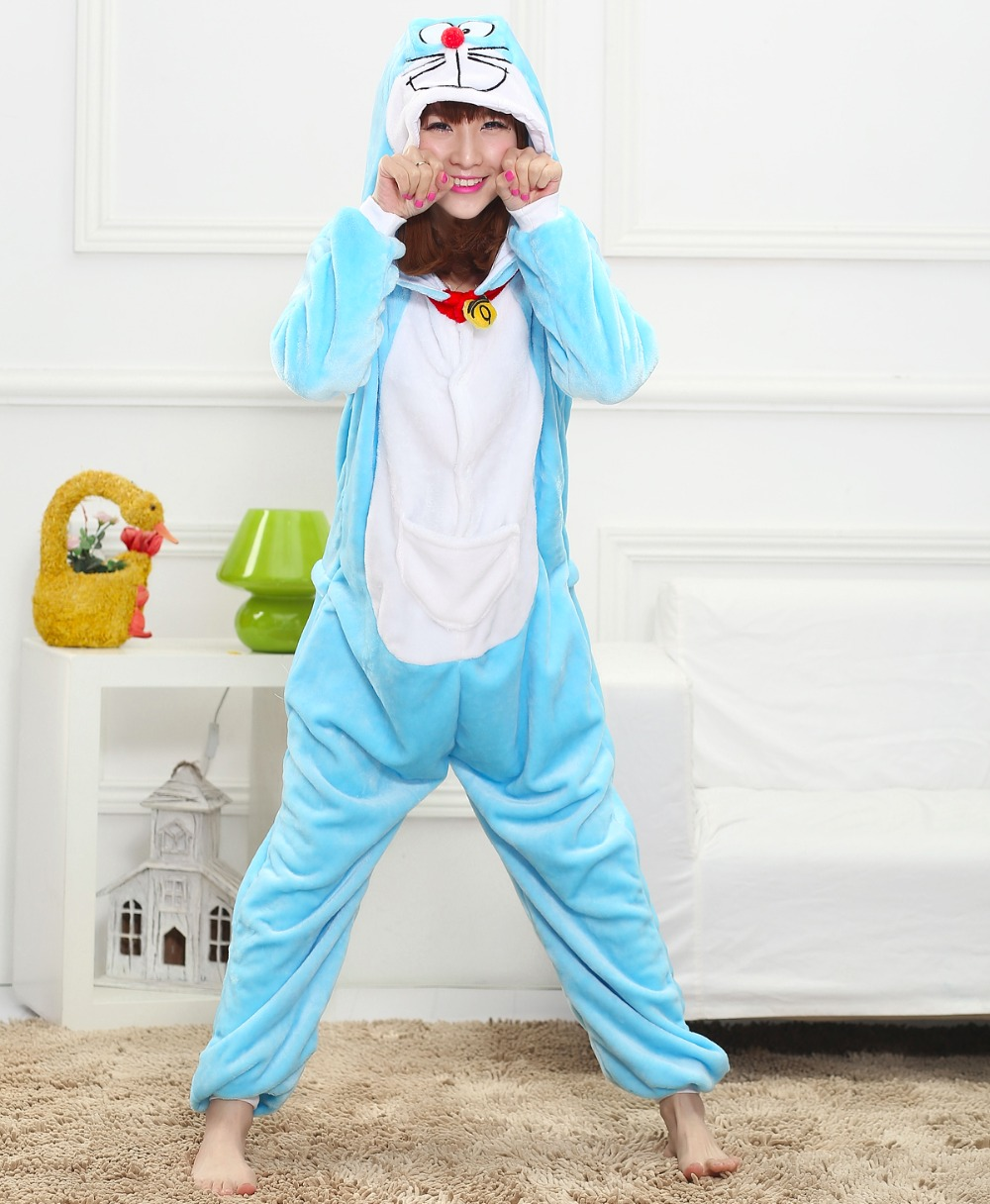 Cute Doraemon unisex adults flannel animal Pajamas cosplay Pijama Onesies Pyjamas women Sets sleepwear Robe