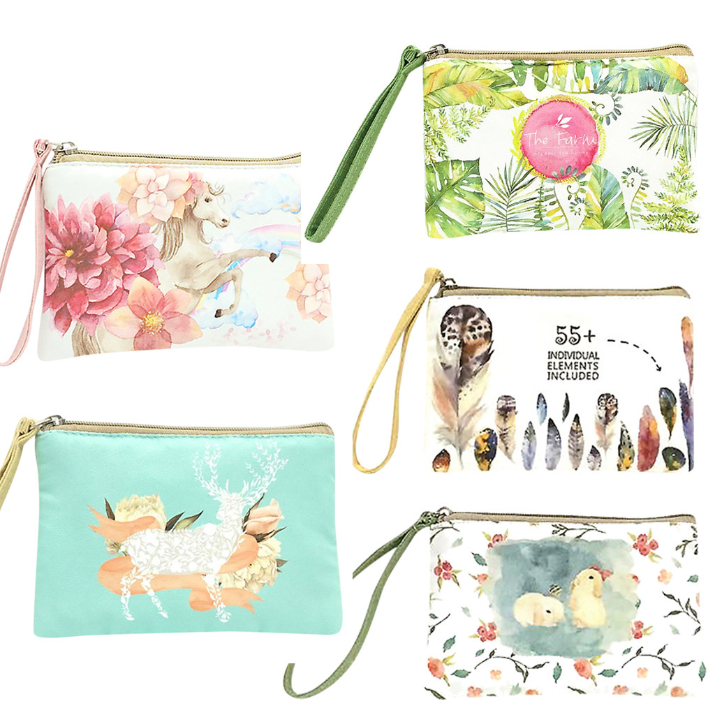 Xiniu Cute Canvas Cash Coin Purse Casual Make Up Bag Fashion Cellphone Bag With Handle Wallet Bag Tops