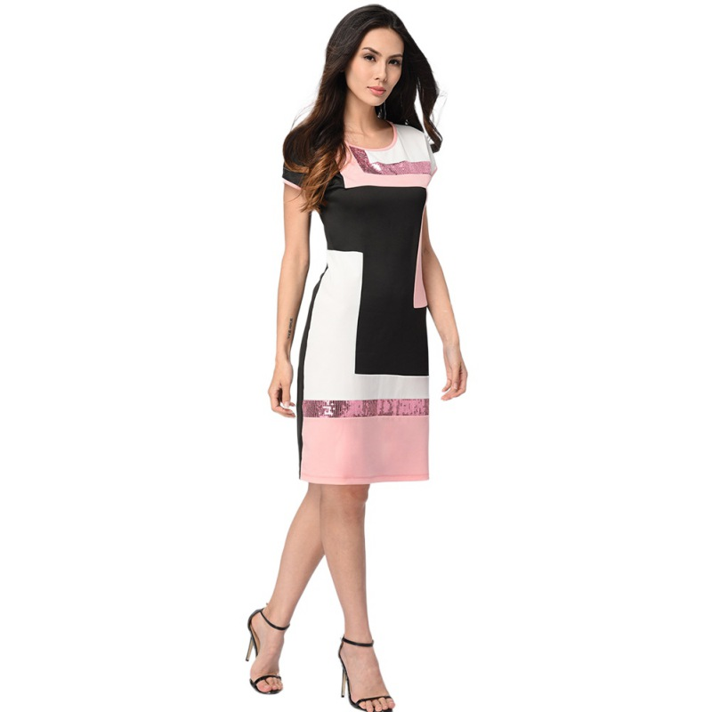 Women Daily Shift Dress Summer O-Neck Pacthwork Vestidos Sheath Contrast Sequined Midi Robes Prom Work Dress block Color