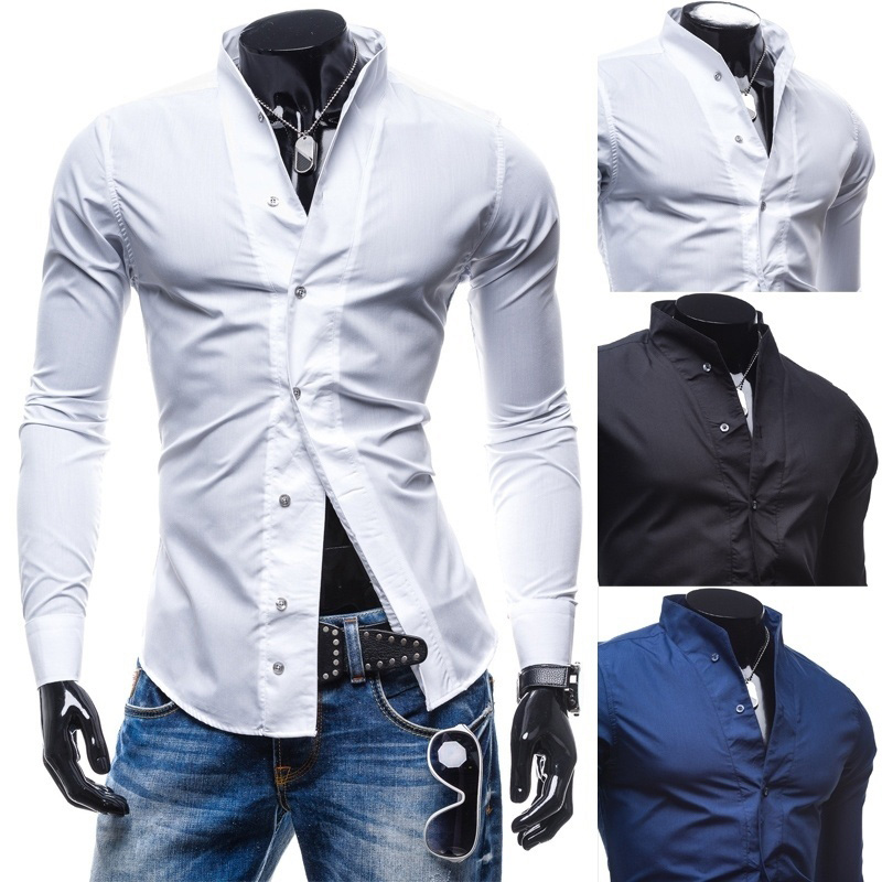 Zogaa 2019 Fashion Spring Slim Fit Men's Shirts Casual Slim Fit Male Social Business Dress Shirt Modern Men Long Sleeve Shirt