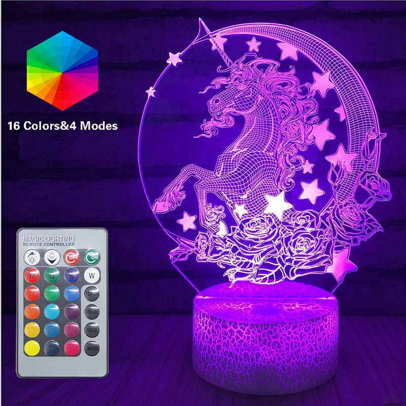 Remote Unicorn LED 3D Nightlight Baby Night Light Multi-Color Table Lamp Child Birthday Holiday Girl Friend Unicorn Light Gift