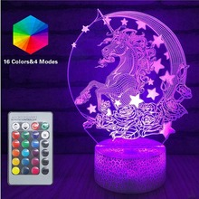 Remote Unicorn LED 3D Nightlight Baby Night Light multi-Color Table Lamp Child Birthday Holiday Girl Friend unicorn light Gift dandelion unicorn 3d led nightlight wood base with music box dimming remoting switch little girl gift bedroom deco lamp iy804015