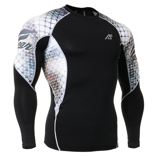 0763e284d72 Men s Fitness Clothing MMA Training T-Shirts Workout Clothes Boxing Base  Shirt Running Sports Compression Long Sleeved Rash Guad