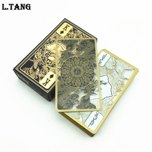 High Quality Waterproof Transparent Plastic Poker Gold Edge Playing Cards Dragon Card Game Collection Gift L412