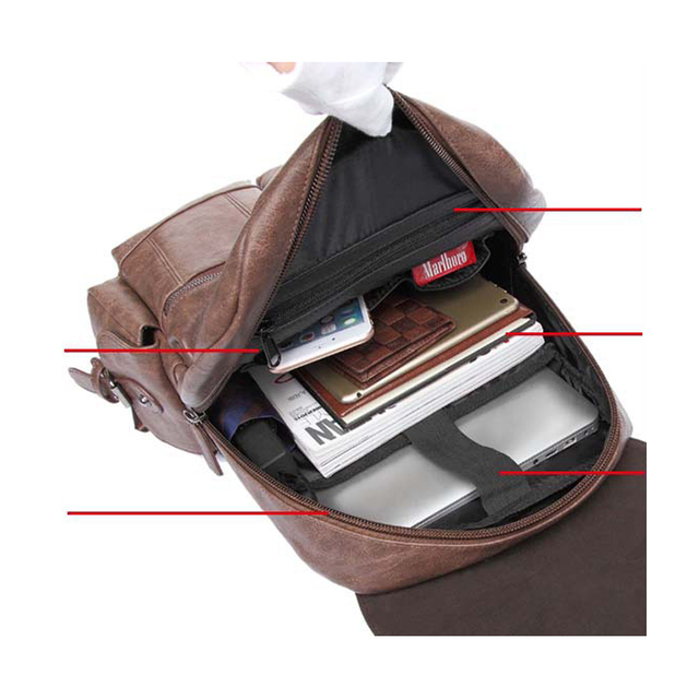 2019 Men PU Leather Backpack High Quality Youth Travel School Book Bag Waterproof Men Laptop Business backpack Shoulder Bag Rack