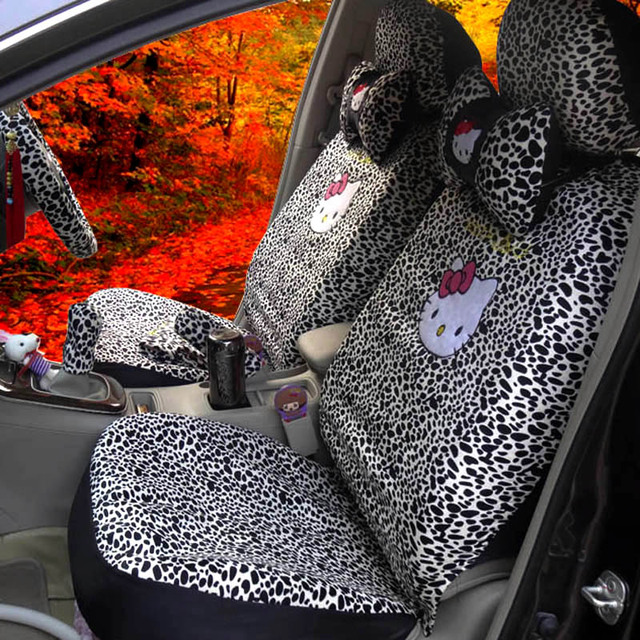 18PCS Cartoon Universal Hello Kitty Car Seat Covers Black Leopard Styling Interior
