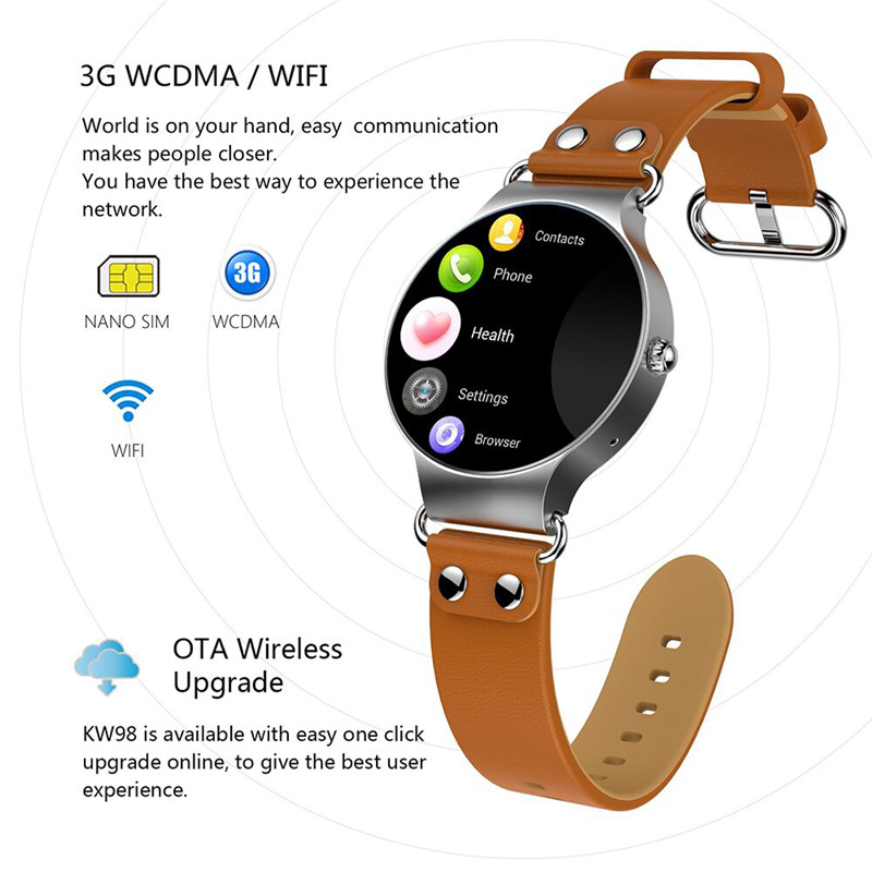 2018 KW98 Smart Watch men Heart rate monitor Android 5.1 3G WIFI GPS Watch MTK6580 Smartwatch iOS Android phone form women