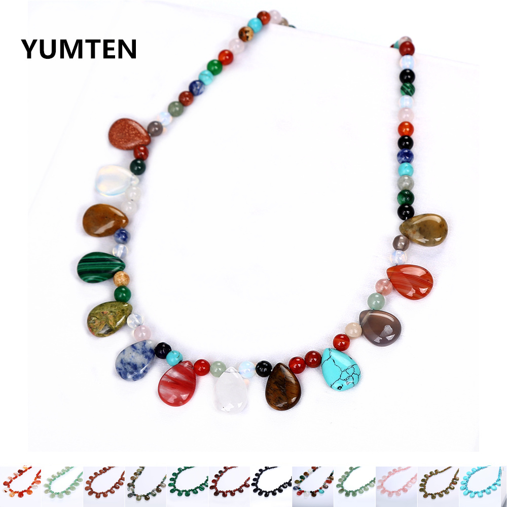 Natural Crystal Water Drop Pendant Necklace Women Personality Agate Necklaces Multiple Materials Jewelry Statement Gift GothicNatural Crystal Water Drop Pendant Necklace Women Personality Agate Necklaces Multiple Materials Jewelry Statement Gift Gothic