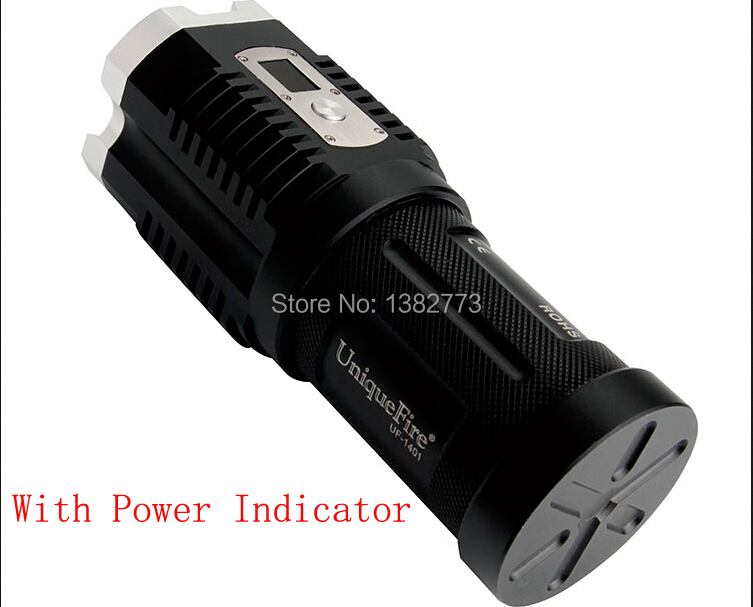 UniqueFire Digital display led torch 4x Cree XM-L2 3600LM 5-Modes Camping Hunting 4x18650 battery Led Flashlight boruit 18 xm l2 powerful led flashlight 5 mode portable tactical flash light waterproof aluminum camping hunting torch lanterna