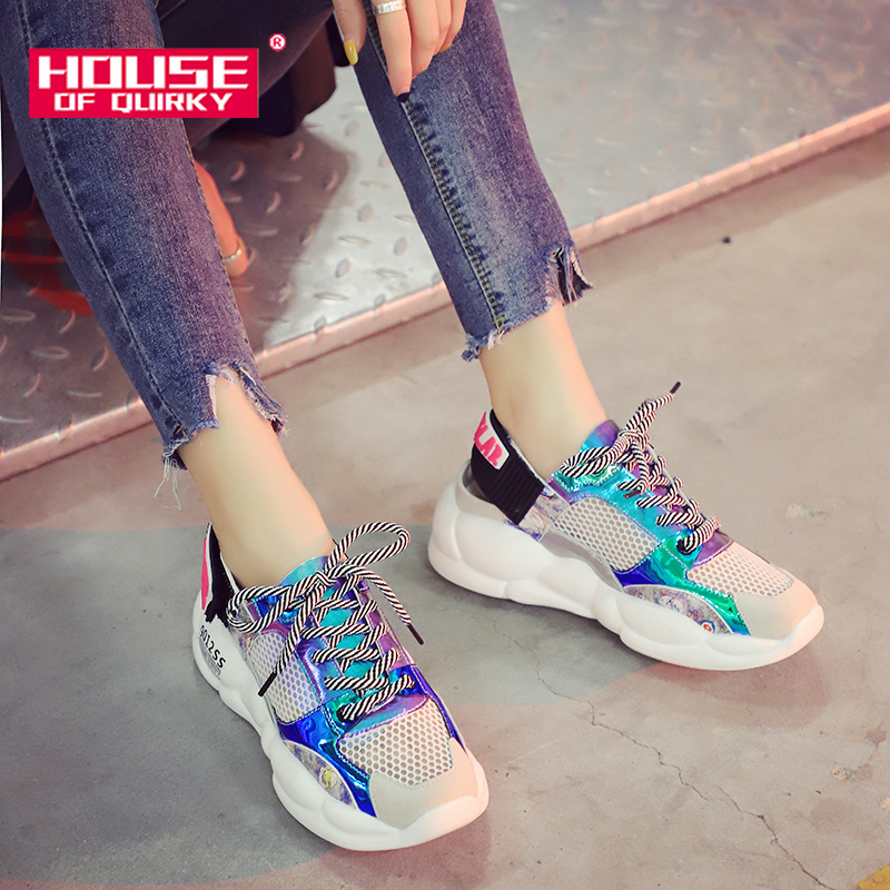 Vulcanized Shoes Women Spring Comfortable Round Head Mesh Running Shoes Woman Casual Shoes Ladies Hollow Out Platform Shoes 2019Vulcanized Shoes Women Spring Comfortable Round Head Mesh Running Shoes Woman Casual Shoes Ladies Hollow Out Platform Shoes 2019