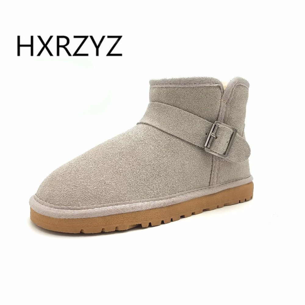 HXRZYZ winter snow boots women suede warm ankle boots ladies large size autumn new fashion of genuine leather buckle women shoes fawn warm women s snow boots ming blue size 37