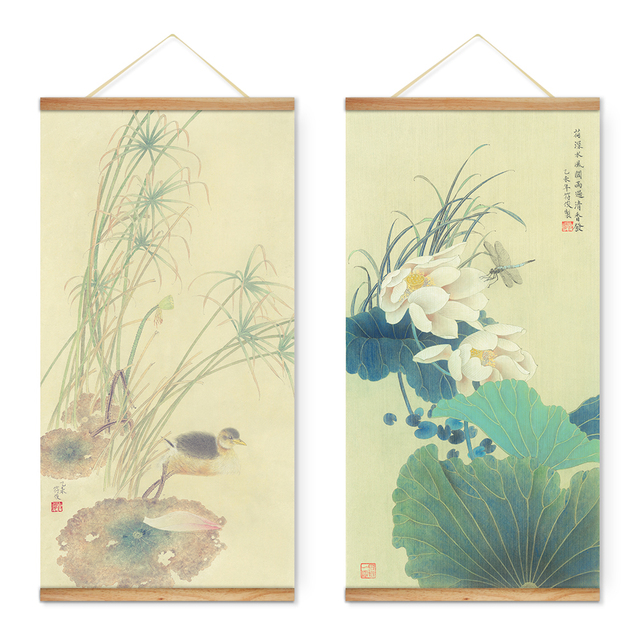 Us 39 0 Chinese Style Lotus Animals Dragonfly Decoration Wall Art Picture Canvas Wooden Scroll Paintings For Living Room Ready To Hang In Painting
