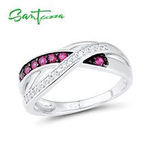 SANTUZZA Silver Ring For Women Authentic 925 Sterling Silver Sparkling Red Rubies Cubic Zirconia Party Fashion Jewelry cheap 925 Sterling GDTC Fine Pave Setting Rings ROUND TRENDY Bridal Sets Rings Silver 925 Metal Rings Women Rings Rings Silver 925 Jewelry