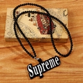 Men's Design Long Acrylic Beads Chain Necklace Hip Hop Style Supreme Pendant Necklace Hiphop Design Charm Jewelry