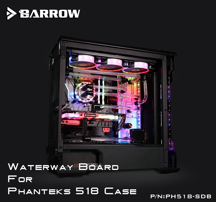 PH518-SDB de brouette, cartes de voie navigable pour boîtier Phanteks 518, pour bloc d'eau CPU Intel et bâtiment simple/Double GPU