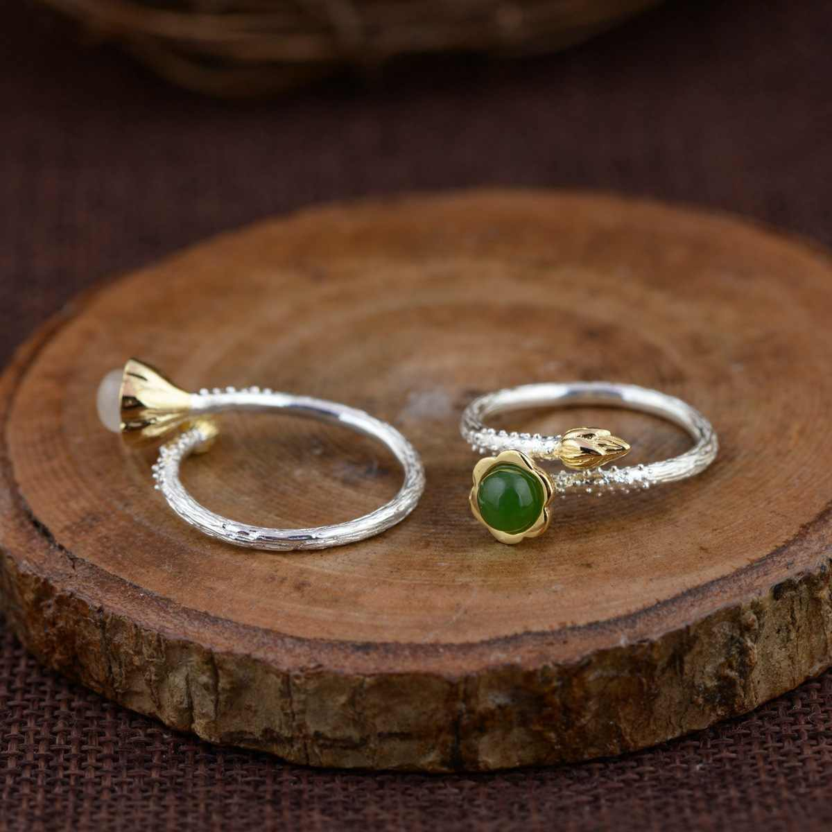 GQTORCH Vintage แหวนเงิน 925 ฝังสีขาวสีเขียวหยกหินธรรมชาติ 18 พันทองชุบดอกไม้น่ารักปรับแหวนสำหรับผู้หญิง
