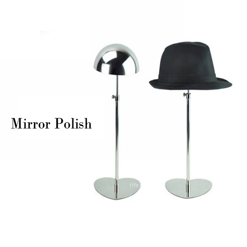 Free shipping Metal Hat display stand mirror polish hat display rack hat holder cap display HH002-Mirror polish free shipping metal gold hat display stand polished gold cap display racks