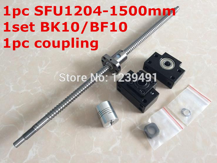 rolled ballscrew sfu1204 set: 1500mm with end machined + single ball nut + BK/BF10 end support + coupler for  cnc parts cnc ballscrew sfu1204 set ball screw sfu1204 l350mm end machined sfu1204 ball nut bk10 bf10 end support for ballscrew