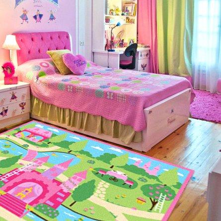 Cartoon Castle Girls Bedroom Rugs,Delicate Little Flowers Bedroom ...