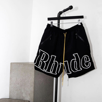 Rhude Shorts Men Streetwear Joggers Big Logo Mesh Yellow Drawstring Rhude Short Pants New York Limited Zipper Pocket Shorts