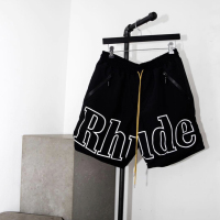 Rhude Shorts Men Streetwear Joggers Big Logo Mesh Yellow Drawstring Rhude Short Pants New York Limited Zipper Pocket Shorts