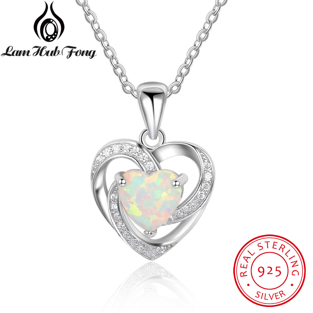 Real 925 Sterling Silver Heart White Fire Opal Pendant