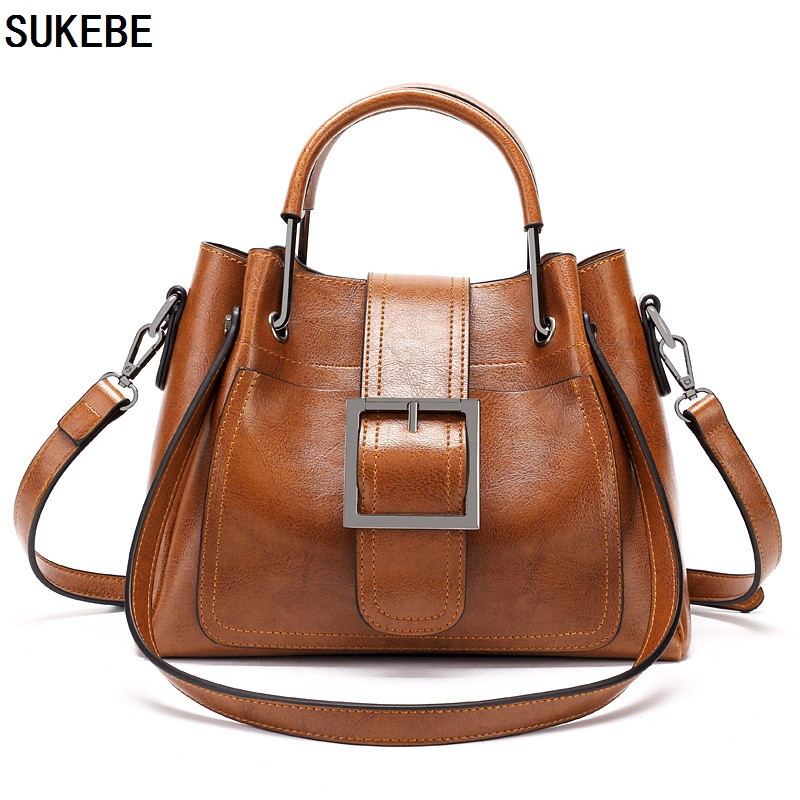 SUKEBE Women Bag 2018 Luxury Brand Designer Casual Women Leather Handbags Fashion Women's Shoulder Messenger Bags Tote Bolsa 2017 luxury brand women handbag oil wax leather vintage casual tote large capacity shoulder bag big ladies messenger bag bolsa