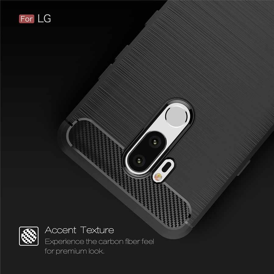 耐震電話ケース Lg G6 ケースカバー LG G7 G6 プロ Q7 Q6 プラス Q スタイラス K10 2018 カーボン繊維 TPU シリコーン電話バックケース