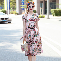 OLN 2018 Summer Women Shirt Blouse Skirt Suits Two Pieces Print Cat New Luxury Dress Suits