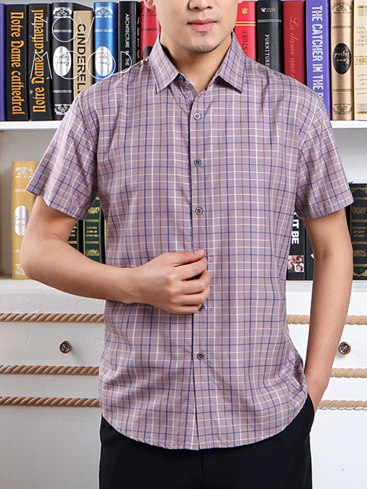 Shirts Creative 2019 Summer New Mens Shirt Brand Men Casual Short Sleeves Plaid Shirt Turn-down Collar Business Programmer Shirt Mens Clothing High Quality And Low Overhead Casual Shirts
