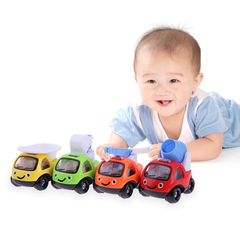 4pcs Cartoon Pull Back Engineering Truck Car Model Toys for Boys Kids Child Birthday Gift Plastic Cute Car Models Funny Toys